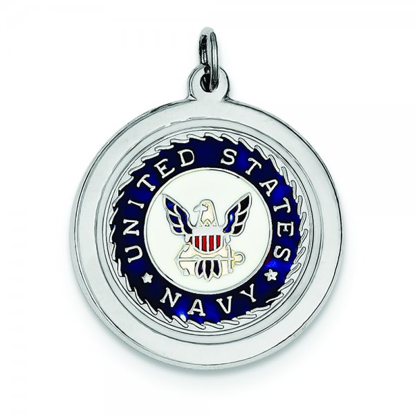 Sterling Silver Rhod-plated US Navy Disc