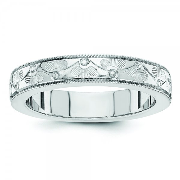14k White Gold Fancy Floral wedding band