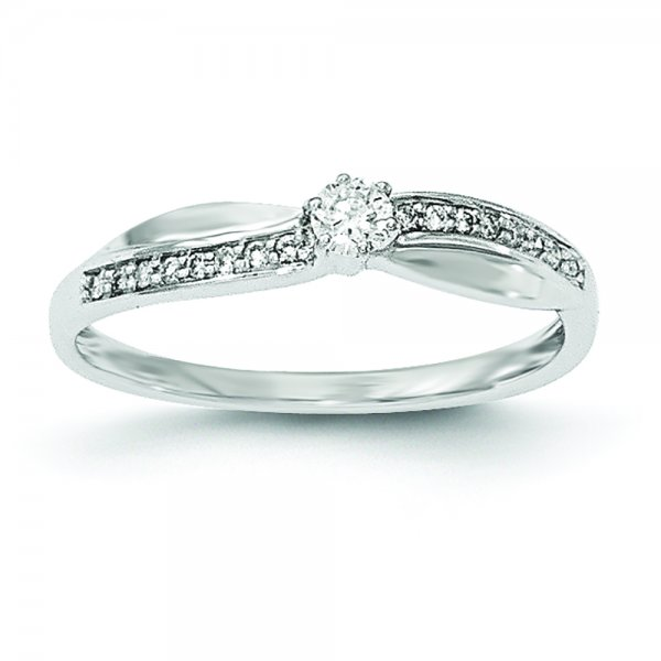 14k White Gold Twist Diamond Ring