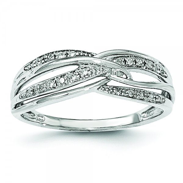 14k White Gold Diamond Split Shank Crossover Ring