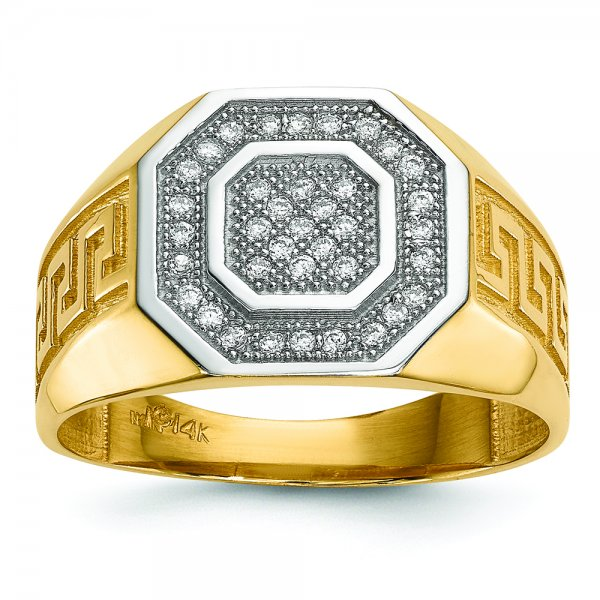 14k Yellow Gold w/ Rhodium Mens Micro Pave CZ Octagon & Greek Key Ring
