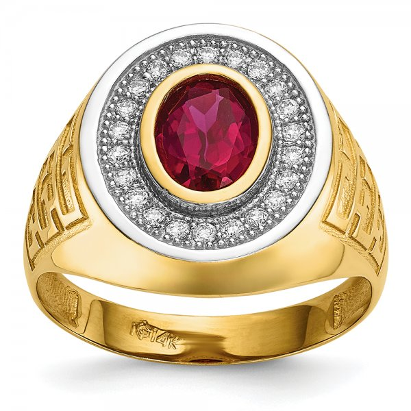 14k Yellow Gold w/ Rhodium CZ & Oval Red CZ Mens Ring