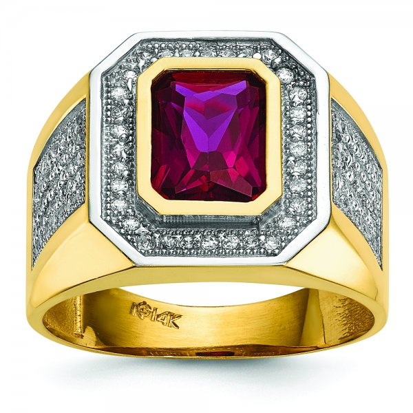 14k Yellow Gold CZ & Emerald-cut Red CZ Mens Ring