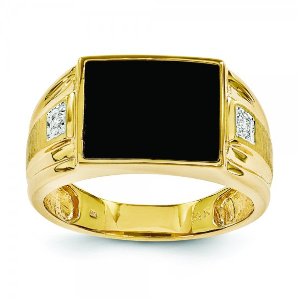 14k Yellow Gold Mens Onyx and Diamond Ring