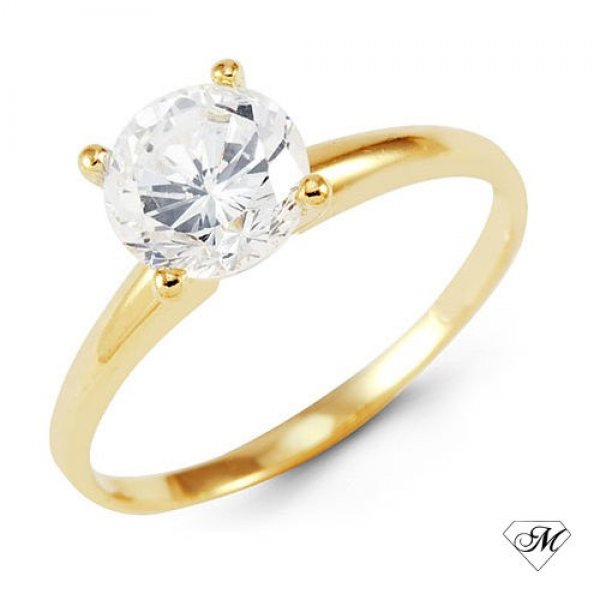 14k Yellow Gold DIAMOND SOLITAIRE Engagement RING Natural Round Brilliant Cut