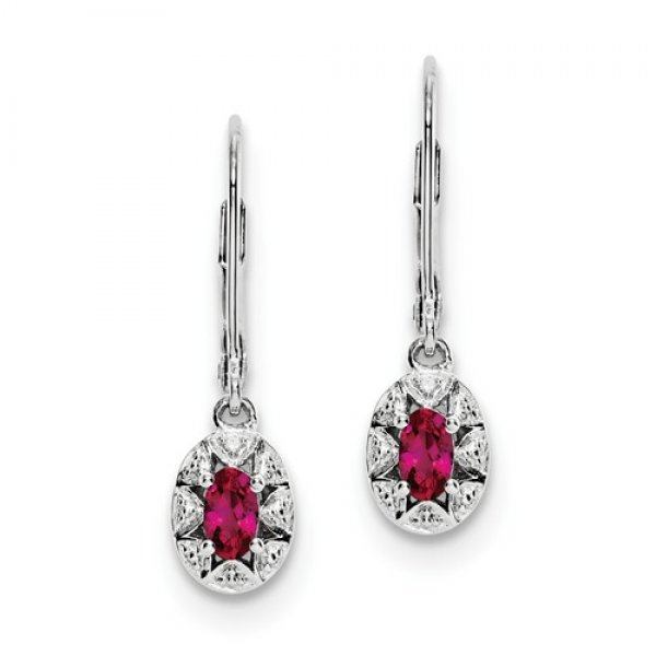 Sterling Silver Rhodium-plated Diamond & Created Ruby Earrings