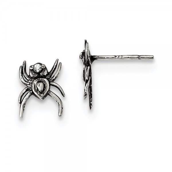 Sterling Silver Antiqued CZ Spider Post Earrings