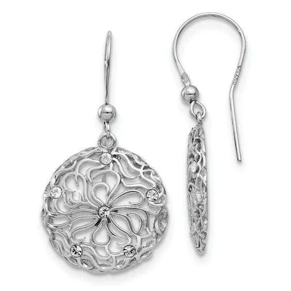 Sterling Silver Polished CZ Floral Dangle Earrings
