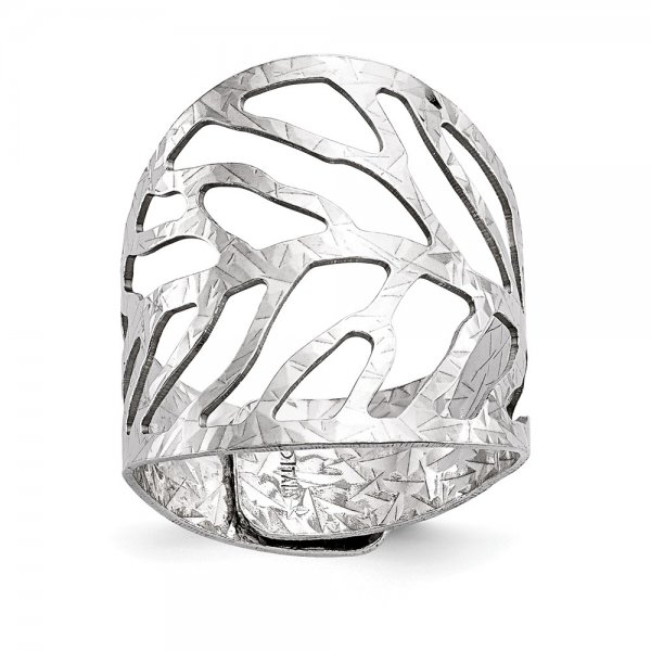 Sterling Silver Rhodium-Plated Adjustable Ring