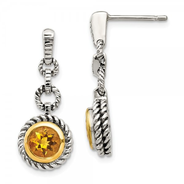 Sterling Silver & Gold-tone Flash Gold-plated Citrine Earrings