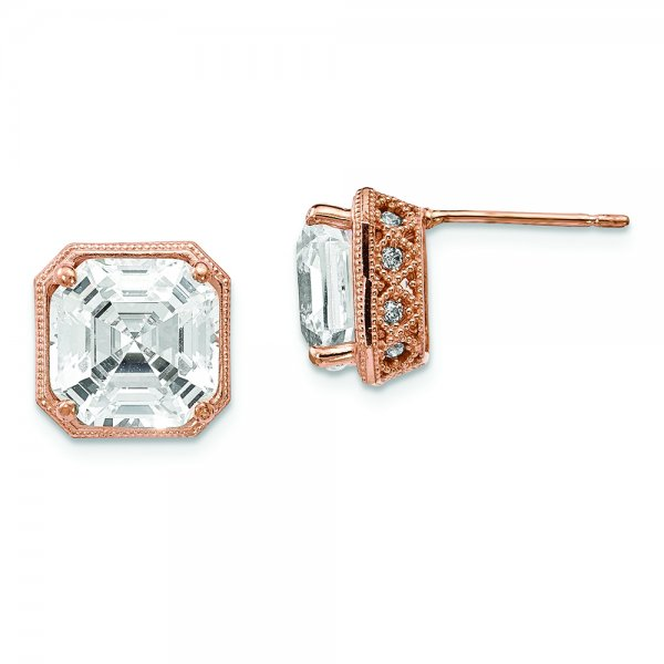 fba61f700 10k Rose Gold Tiara Collection Polished CZ Post Earrings