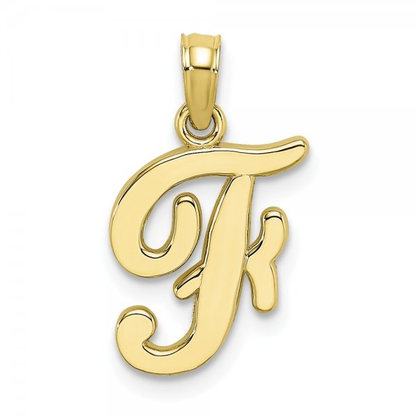 10k Yellow Gold Script Initial /'W/' Polished Charm Pendant