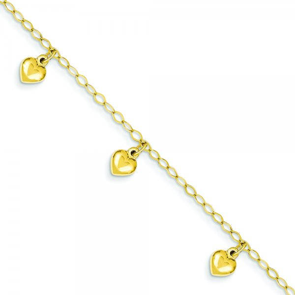 14k Yellow Gold Childs Puffed Heart Charm Bracelet