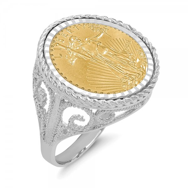 14k White Gold w 1/10AE Coin Ring w/coin