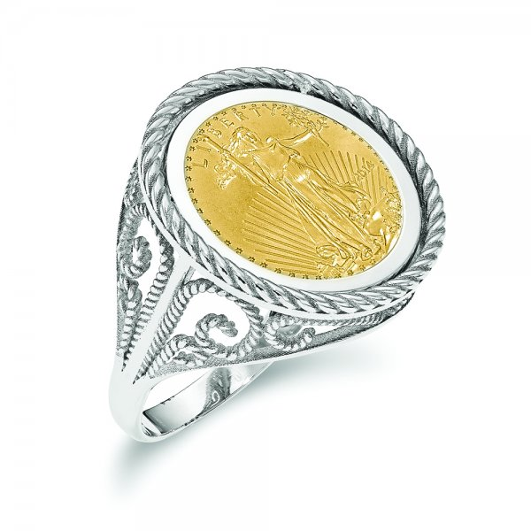 14k White Gold w 1/10AE Polished Coin Ring w/coin