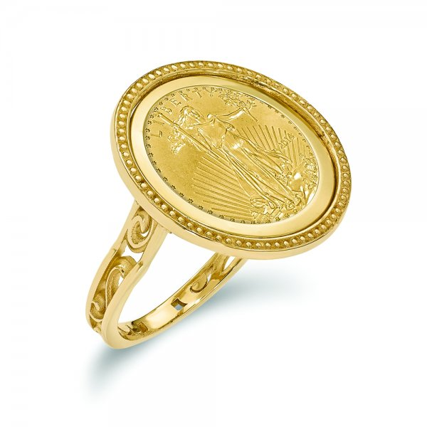 14k Yellow Gold y 1/10AE Polished Coin Ring w/coin