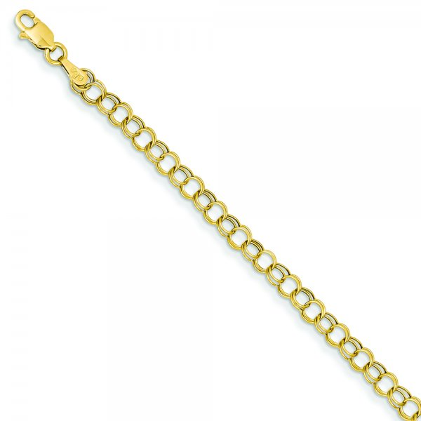 14k Yellow Gold Hollow Double Link Charm Bracelet