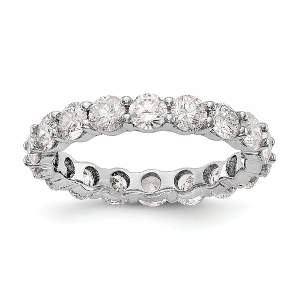 14k White Gold SI2-I1( H/I) 18 Round Shared Prong Eternity Band