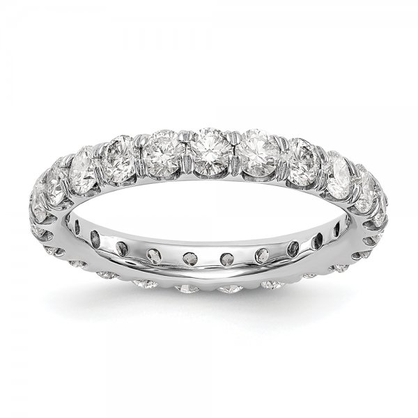 14k White Gold 20 Round Diamond U-Prong Eternity Band
