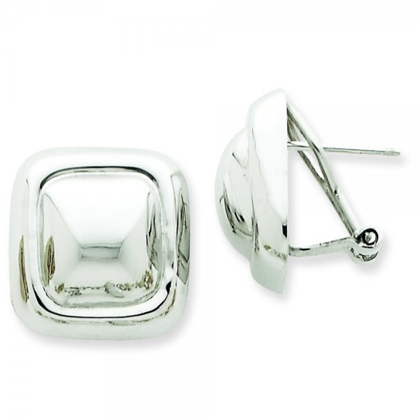 14k White Gold Polished Square Button Omega Back Post Earrings