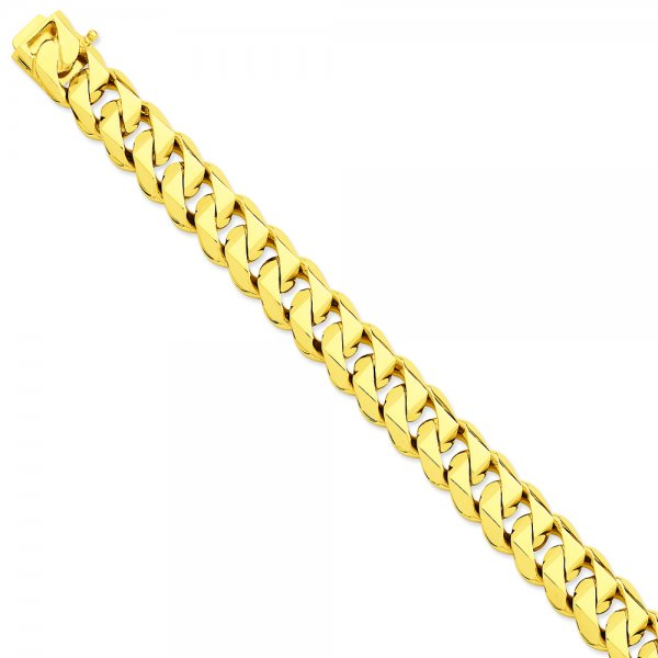 14k Yellow Gold Hand-Polished Traditional Link Bracelet Chain