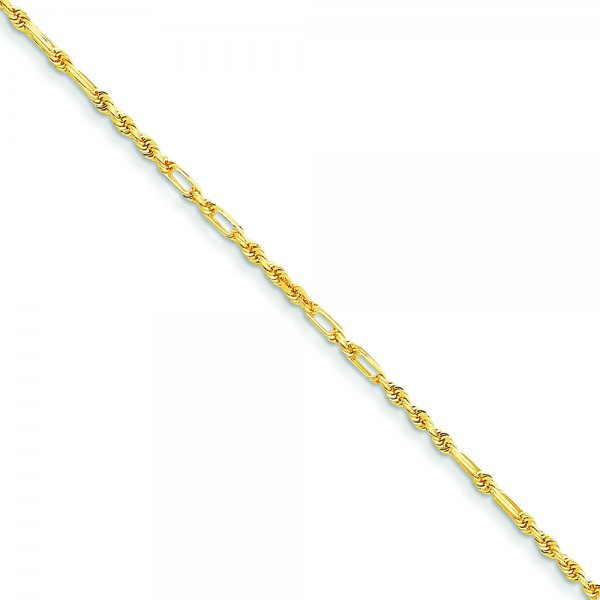 14k Yellow Gold Milano Rope Chain Anklet