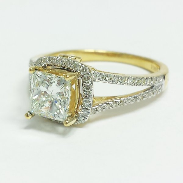 14k Yellow Gold 1.17 CT Princess Solitaire Diamond Halo Engagement Ring 2.17ctw