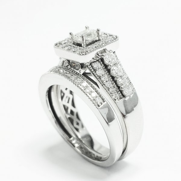 14k White Gold 1.07 CTW Halo Diamond Bridal Ring Set Emerald Cut Center 0.22 CT