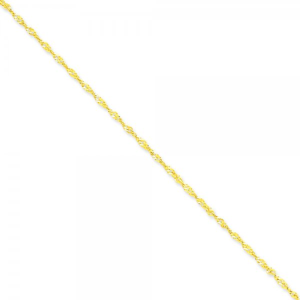 14k Yellow Gold Singapore Chain Anklet