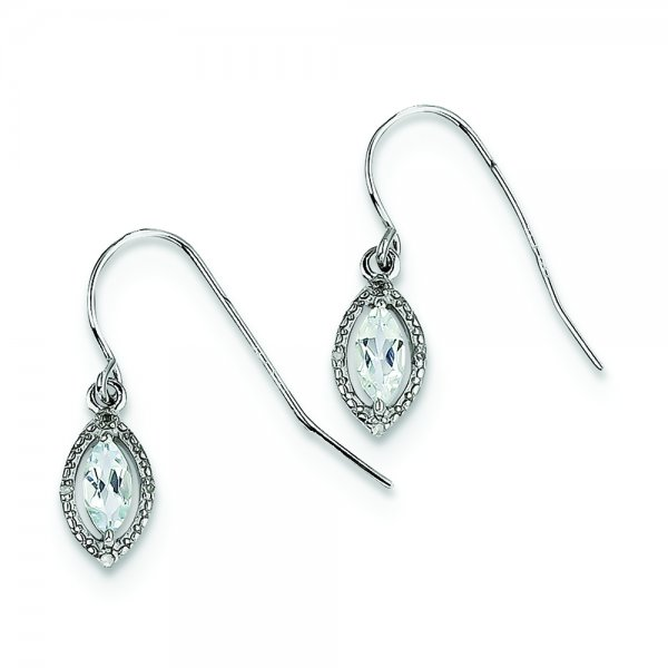 Sterling Silver Rhodium-plated Diamond and Aquamarine Earrings