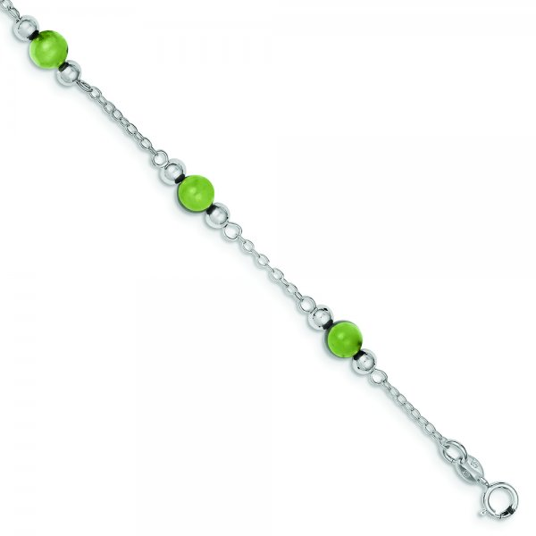 Sterling Silver Rhodium-plated 9inch Polished Green Jade Anklet