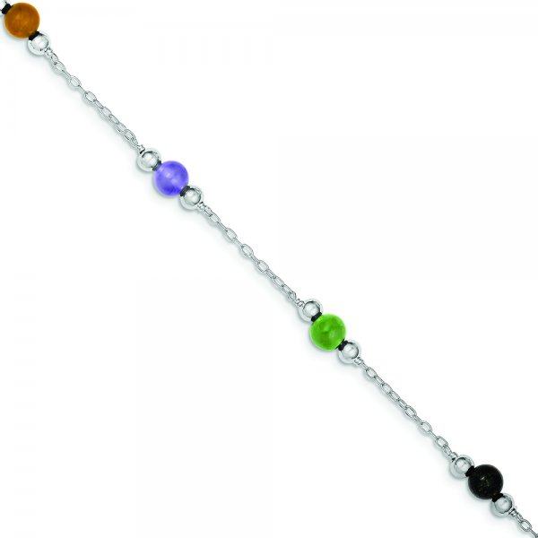 Sterling Silver Rhodium-plated 9inch Polished Multi-Color Jade Anklet