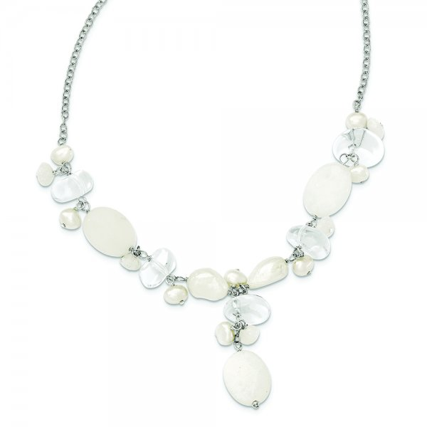Sterling Silver Moonstone /FW Cultured Pearl/Rock Qtz/White Jade Neck