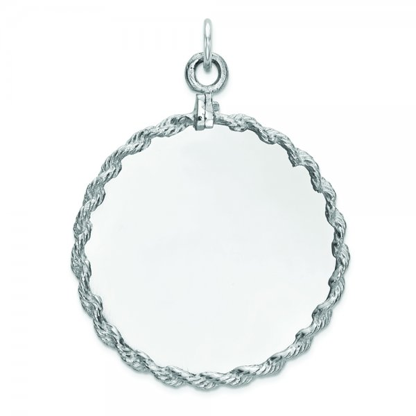 Sterling Silver Rhod-plated Eng. Rnd w/Rope Polish Front/Satin Back Disc
