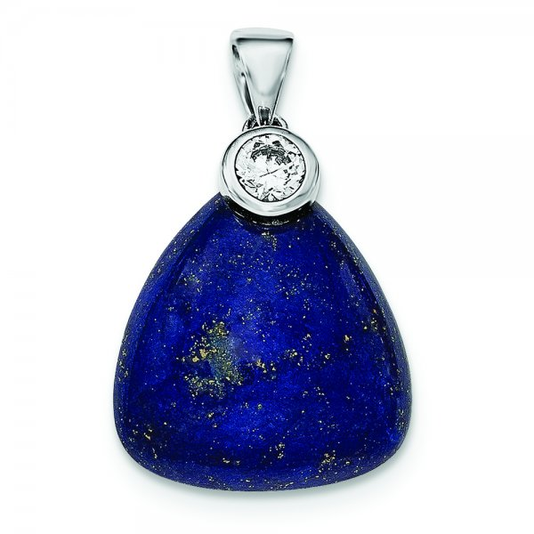 Sterling Silver Rhodium-plated w/CZ and Lapis Lazuli Pendant