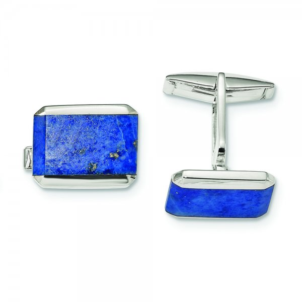 Sterling Silver Rectangle Lapis Cuff Links