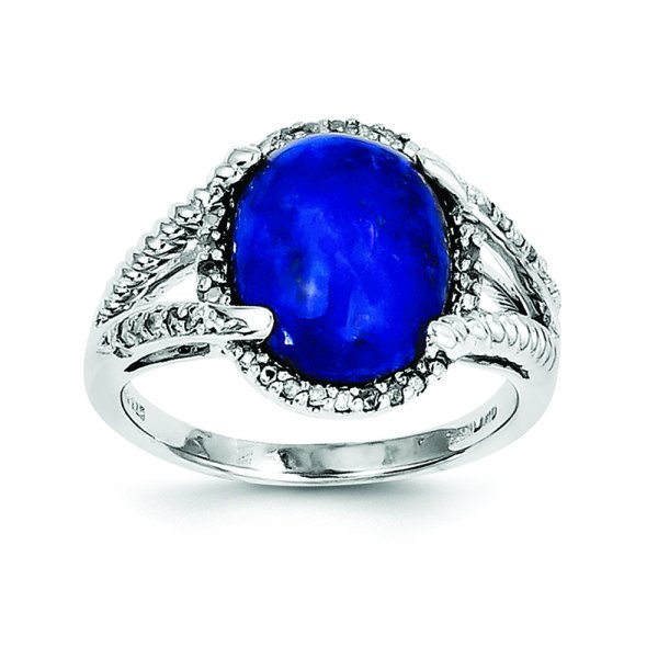 Sterling Silver Rhodium-plated Lapis and Diamond Ring