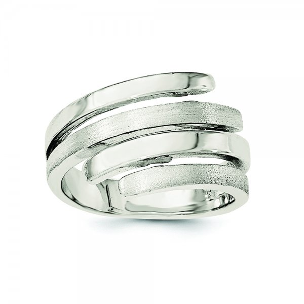 Sterling Silver Rhodium-plated Polished & Brushed Ring