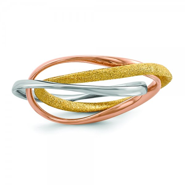 Sterling Silver Rhodium Gold & Rose Gold-plated Intertwined Ring
