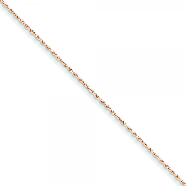 14k Rose Gold Diamond-cut Rope Chain Anklet