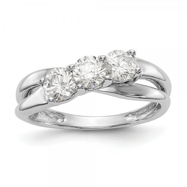 14k White Gold 3-Stone Overlapping Band Diamond Engagement Ring