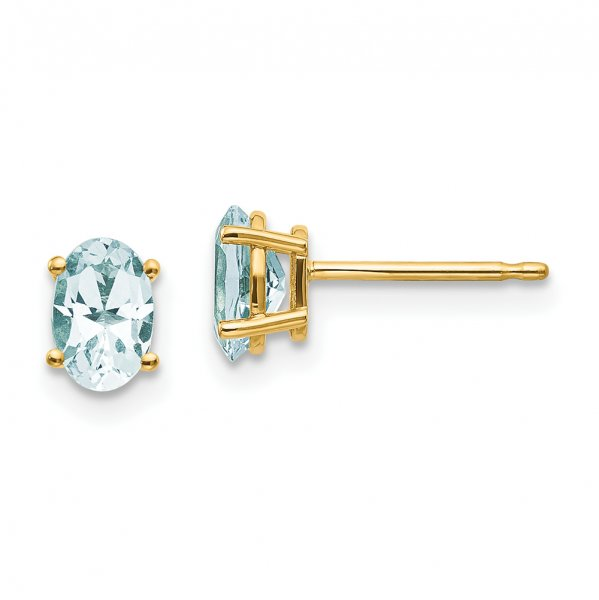14k Yellow Gold 6x4 Oval March/Aquamarine Post Earrings