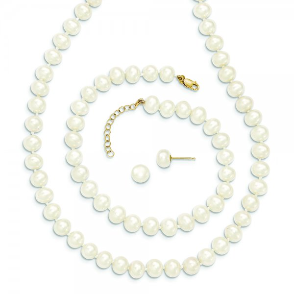 14k Yellow Gold FW Cultured Pearl 7.25 w/1 ext Brace 18 w/2 ext Neck Earring Set