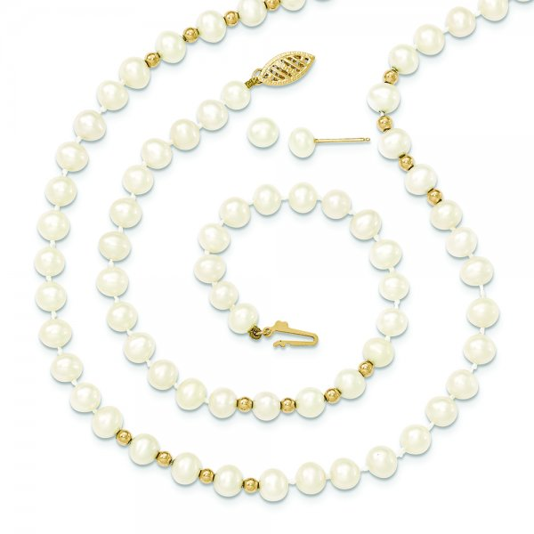 14k Yellow Gold bead 18 FW Cultured Pearl Necklace 7.25 Bracelet Earring Set