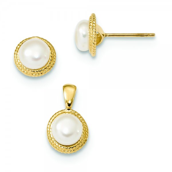 14k Yellow Gold White Button FWC Pearl Circle Earring and Pendant Set
