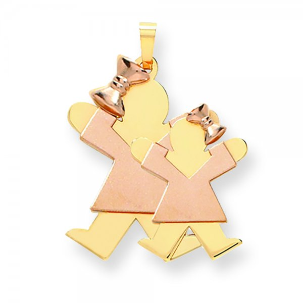 14k Two-tone Yellow & Rose Gold Big Girl & Little Girl Engravable Charm