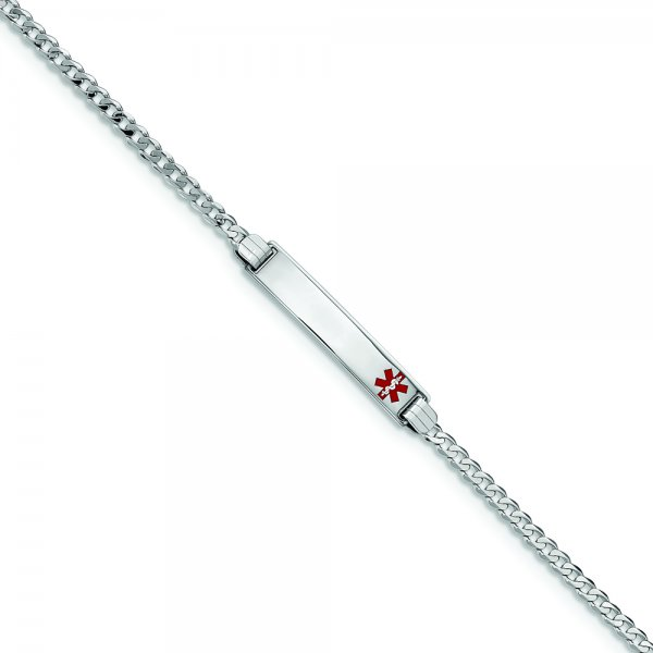 14k White Gold Medical Red Enamel Flat Curb Link ID Bracelet