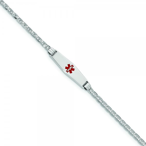14k White Gold Medical Soft Diamond Shape Red Enamel Anchor Link ID Bracelet