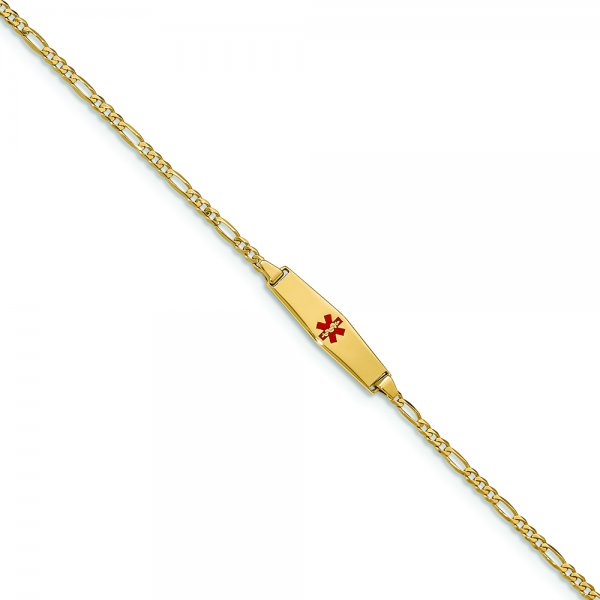 14k Yellow Gold Medical Soft Diamond Shape Red Enamel Figaro Link ID Bracelet