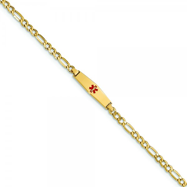 14k Yellow Gold Medical Soft Diamond Shape RedEnamel Semi-Solid Figaro Link ID Bracelet